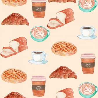 Watercolor breakfast theme seamless pattern