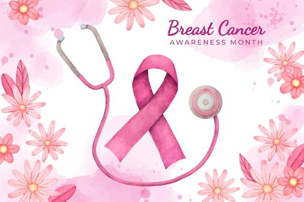 수채화 유방암 인식의 달 배경