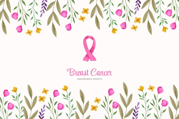Watercolor breast cancer awareness month background