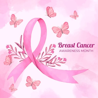 Watercolor breast cancer awareness month illustration
