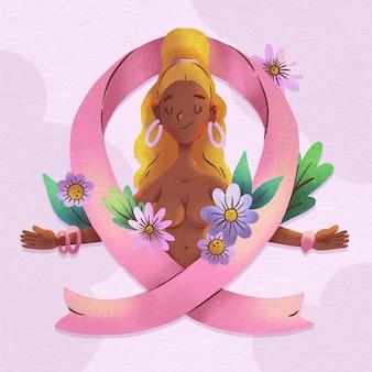 Illustrazione del mese di consapevolezza del cancro al seno dell'acquerello