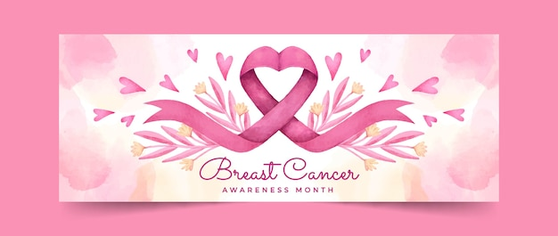 Watercolor breast cancer awareness month social media cover template