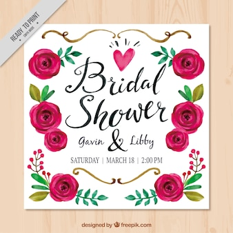 Watercolor bridal shower invitation with cute flowers
