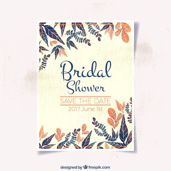 Watercolor bridal shower invitation with orange details