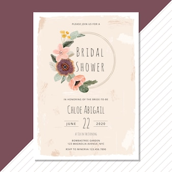 Watercolor bridal shower with floral wreath