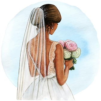 Watercolor bride illustration white gown and veil
