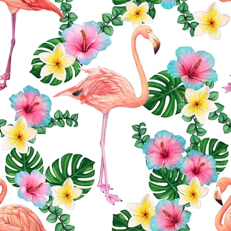 Watercolor bright flamingo pattern and tropical flowers