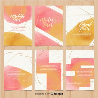 Watercolor brochure template collection