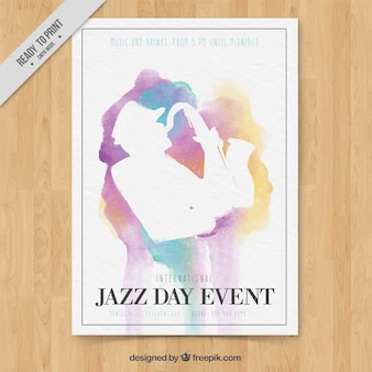 Watercolor brochure with saxophonist silhouette