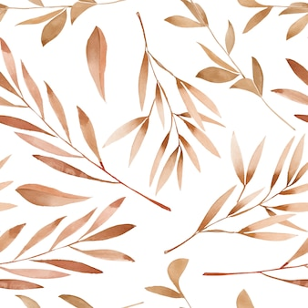 Watercolor brown branches seamless pattern