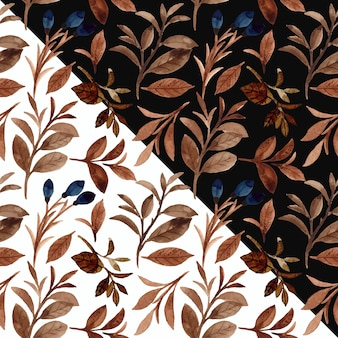 Watercolor brown foliage seamless pattern with black and white background
