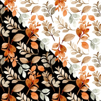 Watercolor brown leaf seamless pattern with black and white background
