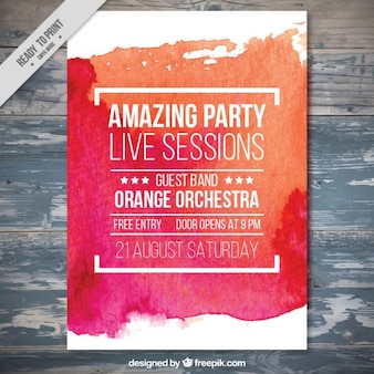 Watercolor brush stroke party brochure