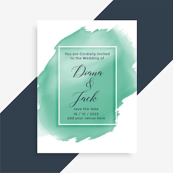 Watercolor brush stroke style wedding card design