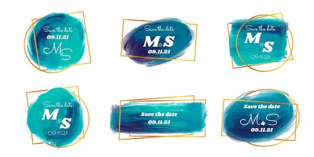 水彩ブラシ ストローク モノグラム セット