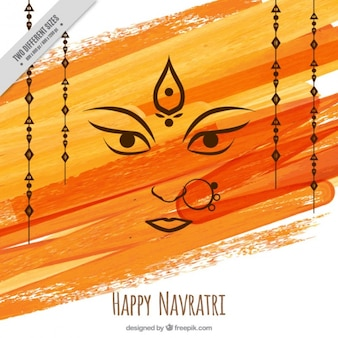 Watercolor brushstrokes background of happy navratri