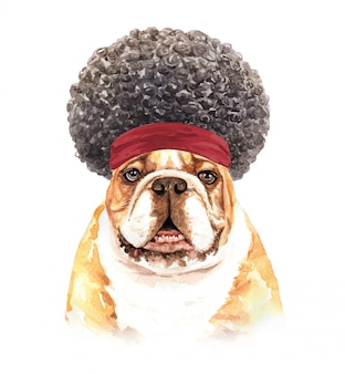 Watercolor bulldog with afro hair.