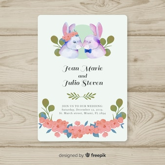 Watercolor bunnies wedding invitation template