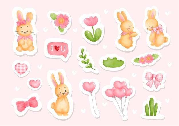 Watercolor bunny stickers