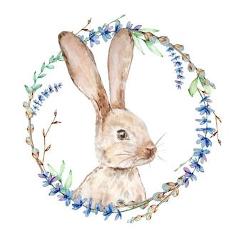 花の花輪と水彩のバニー。ラベンダー、柳、木の枝が分離された手描きのウサギ
