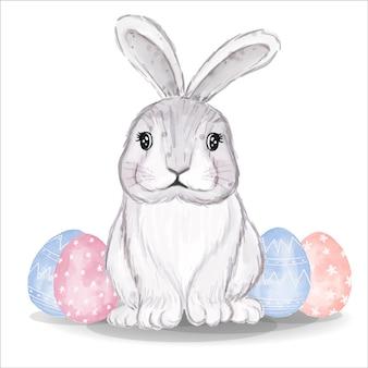 ピンクと青の卵と水彩バニー