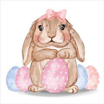 분홍색과 파란색 계란 수채화 토끼