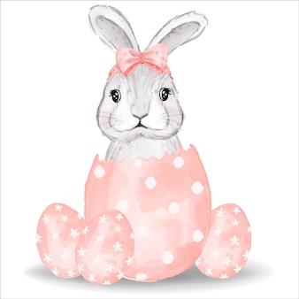 ピンクの卵と水彩のバニー