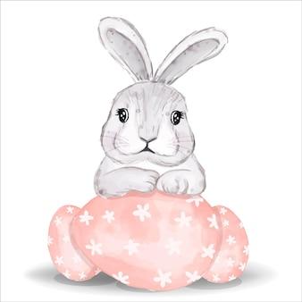 분홍색 계란 수채화 토끼