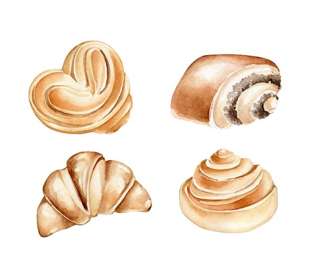 水彩パンコレクション。ベーカリー製品。パン