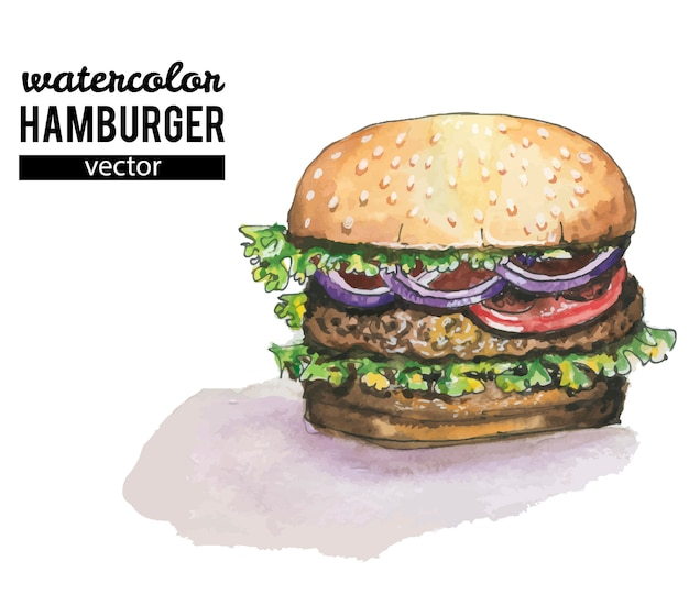 Watercolor burger on white background