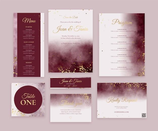 Набор акварельных бордовых и золотых свадебных канцелярских принадлежностей