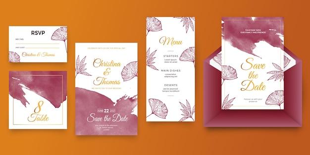 Акварельные бордовые и золотые свадебные канцелярские товары