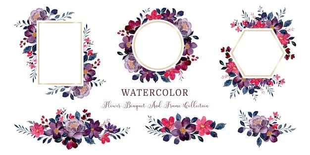 水彩バーガンディの花のフレームと花束のコレクション