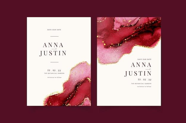 Watercolor burgundy and golden wedding invitation