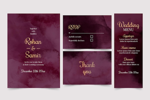 Watercolor burgundy and golden wedding stationery pack