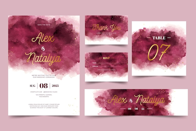 Watercolor burgundy and golden wedding stationery set