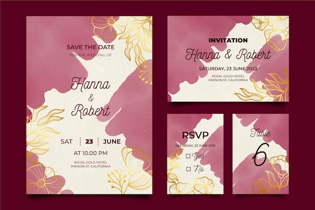 Watercolor burgundy and golden wedding stationery