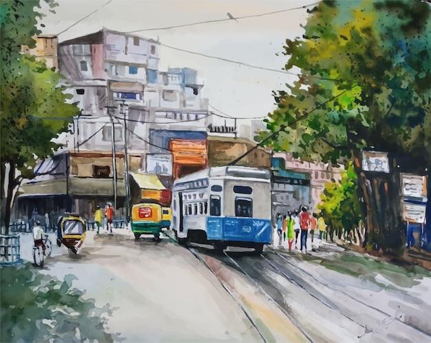 水彩で最も忙しい街、町の風景ビューイラスト