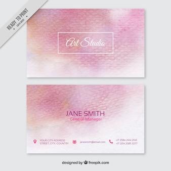 ピンクの色調で水彩画の名刺