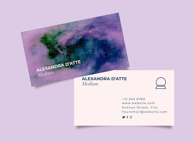 Watercolor business card for medium