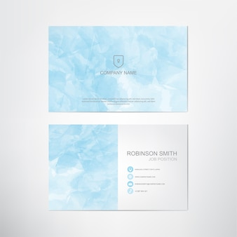 Watercolor business card template,blue pastel style,contact and company card design,vector