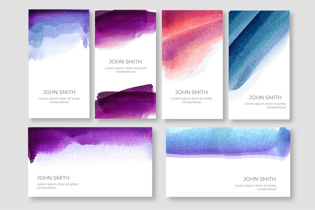 Watercolor business card template pack