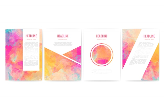 Watercolor business cover set