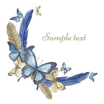 수채화 나비와 깃털. 라운드 프레임, 카드. 삽화