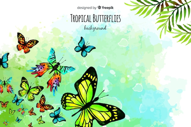Watercolor butterflies background