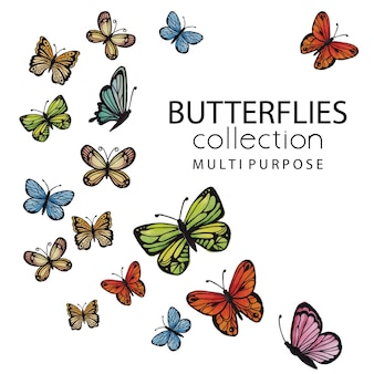 Watercolor butterflies collection multipurpose