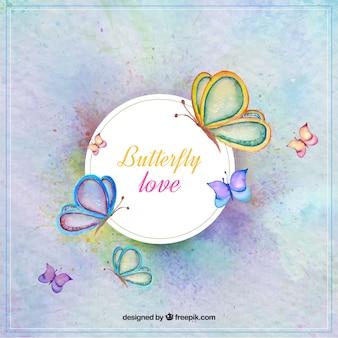 Acquerello farfalle sfondo decorativo