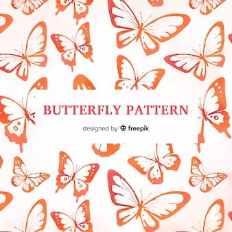 Watercolor butterflies pattern