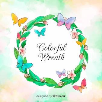 Watercolor butterflies wreath