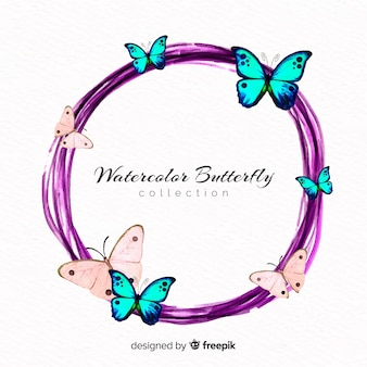 Watercolor butterflies wreath